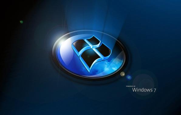 Картинка компьютер, обои, логотип, windows 7, эмблема, объем, операционная система