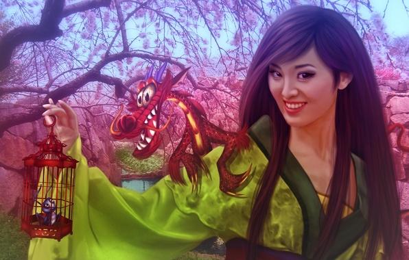 Картинка девушка, дракон, China, сакура, фэнтези, Китай, girl, fantasy, принцесса, цветение, dragon, Мулан, фанарт, fanart, Walt …