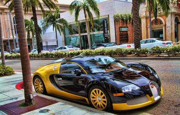 Картинка Bugatti, Veyron, supercar, Black, Street, Yellow