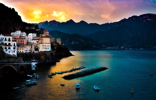 Картинка море, закат, горы, Италия, Amalfi, Italian, Tyrrhenian Sea