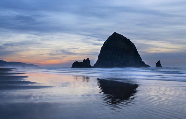 Картинка небо, облака, закат, океан, скалы, побережье, вечер, США, штат Орегон