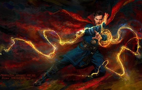 Картинка волшебство, магия, рисунок, фэнтези, арт, Бенедикт Камбербэтч, Benedict Cumberbatch, Doctor Strange, Доктор Стрэндж