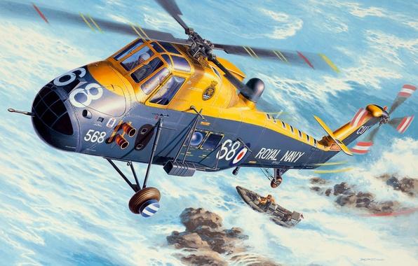 Картинка рисунок, вертолёт, британский, многоцелевой, Королевские ВМС, Andrzej Deredos, Westland Wessex, HAS Mk.3