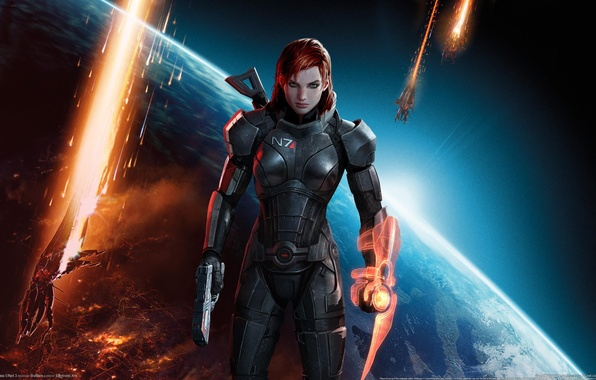 Картинка девушка, космос, оружие, взрывы, корабли, Земля, space, рыжая, guns, girl, броня, Earth, red hair, green …