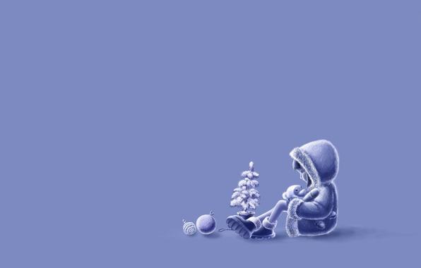 Картинка праздник, девочка, ёлочка, игушка