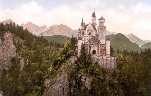 Картинка лес, горы, замок