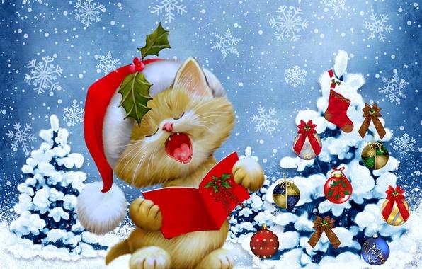 Картинка зима, кошка, снежинки, елка, Новый Год, Рождество, Christmas, winter, snow, tree, New Year