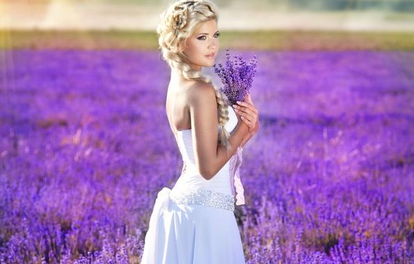 Картинка взгляд, девушка, природа, волосы, руки, макияж, коса, белое платье