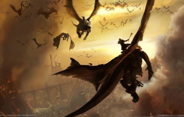 Картинка город, война, драконы, сражение, всадники, в огне, lair