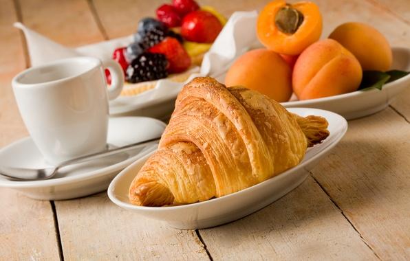 Картинка чай, кофе, еда, завтрак, чашка, фрукты, cup, fruit, drink, coffee, круассаны, croissant, breakfast, tea