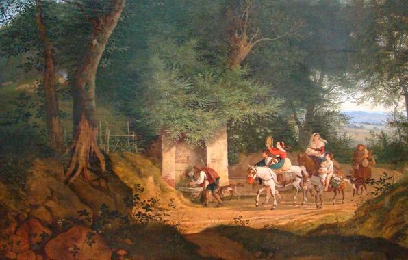 Картинка деревья, пейзаж, люди, картина, жанровая, паломники, Адриан Людвиг Рихтер, Источник близ Ариччи
