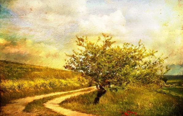 Картинка дорога, осень, трава, пейзаж, цветы, дерево, рисунок, картина, холст