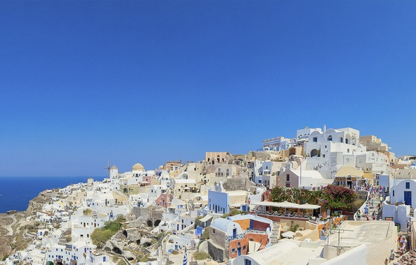 Картинка море, острова, остров, Санторини, Греция, Santorini, Greece