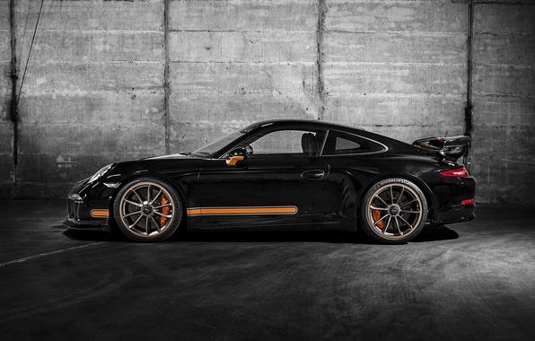 Картинка купе, 911, Porsche, черная, порше, сбоку, Black, GT3, 2014, TechArt