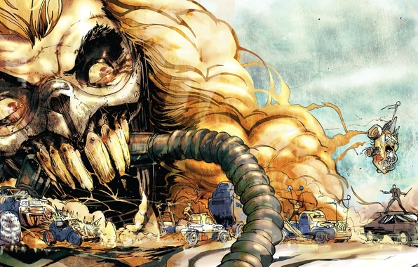 Картинка пустыня, хаос, постапокалиптика, Mad Max, Fury Road, Безумный Макс, Дорога ярости, безумия