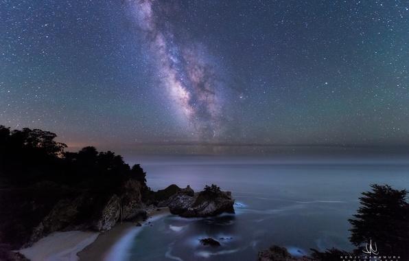 Картинка пляж, скалы, берег, Млечный Путь, photographer, Kenji Yamamura, Julia Pfeifer Burns State Park