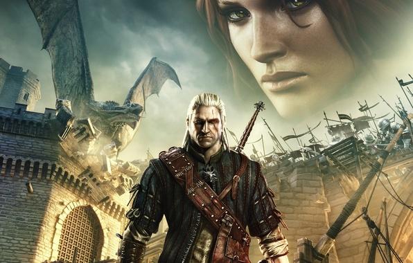 Картинка взгляд, замок, огонь, дракон, меч, медальон, ведьмак, шрам, The Witcher 2: Assassins of Kings, Трисс …