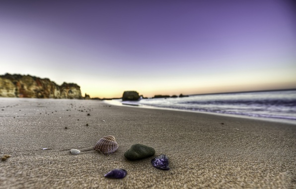 Картинка песок, вода, камни, берег, пейзажи, ракушка, ракушки, пляжи