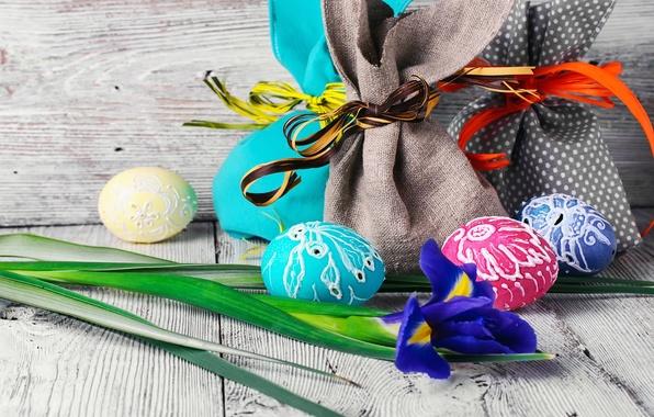 Картинка цветок, праздник, доски, яйца, Пасха, мешки, декор, Easter, ирис