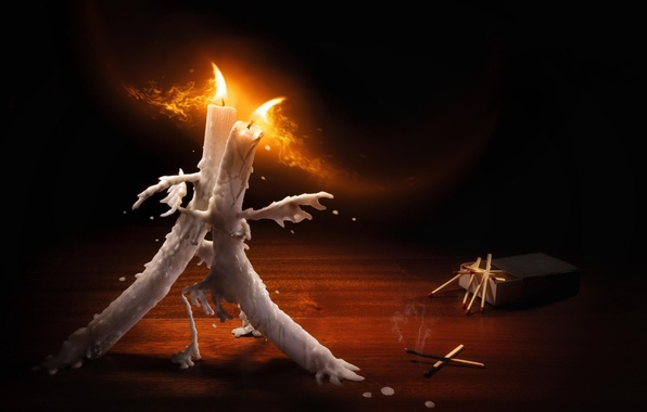 Картинка огонь, спички, танец, свечи, воск, танго