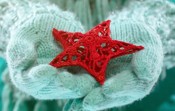 Картинка зима, любовь, звезда, руки, love, star, winter, варежки, snow, hands