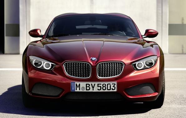 Картинка красный, фары, купе, BMW, БМВ, Coupe, передок, Zagato, Загато