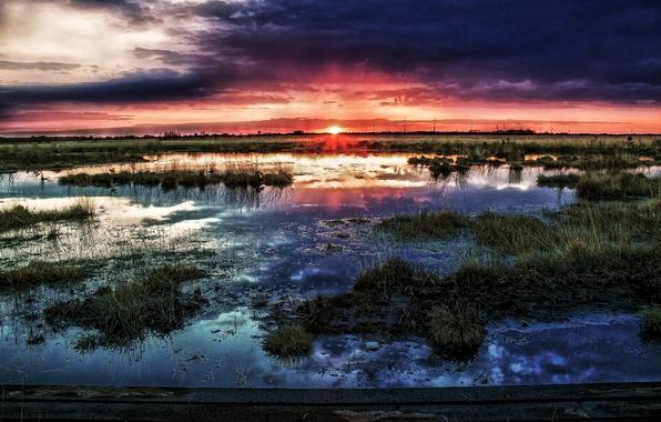 Картинка солнце, закат, тучи, болото, горизонт