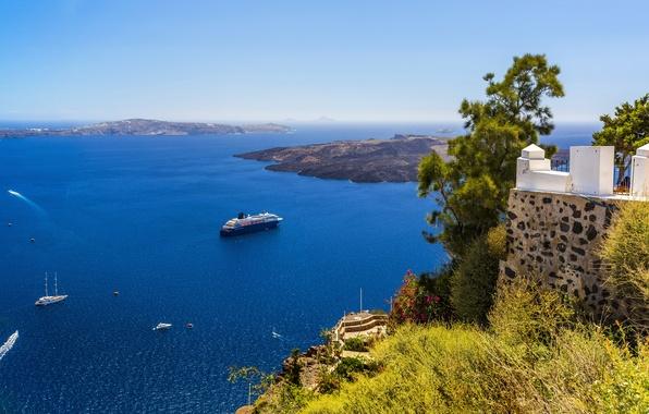 Картинка море, побережье, яхты, Греция, горизонт, панорама, лайнер, вид сверху, Santorini, круизный