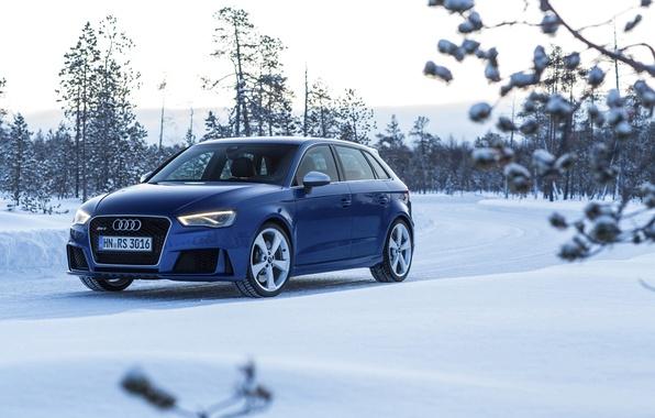 Картинка фото, Audi, Зима, Синий, Снег, Автомобиль, Sportback, RS3, 2015, Металлик