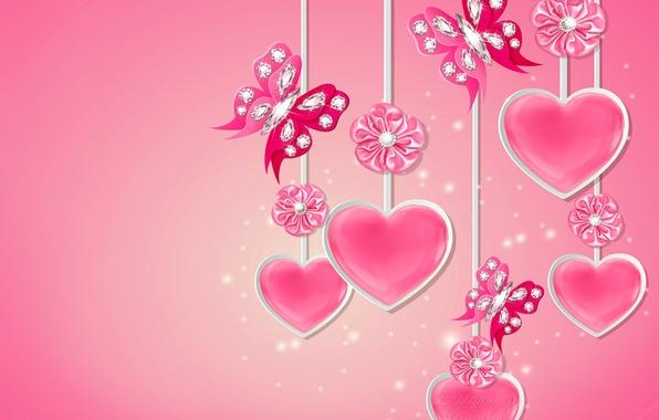 Картинка бабочки, сердце, бриллианты, love, бант, heart, pink, romantic, butterflies, diamonds, Design by Marika