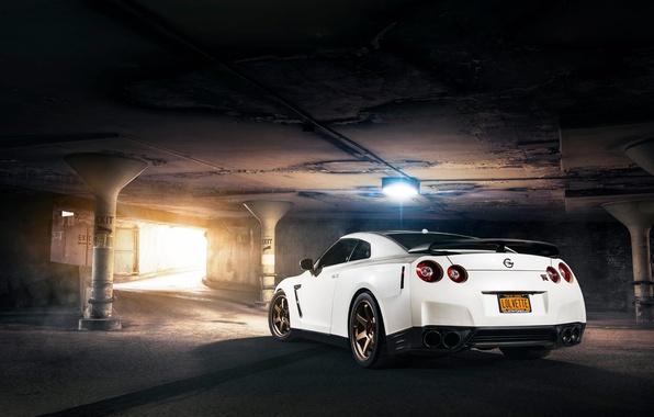 Картинка Nissan, GT-R, Car, White, R35, Sport, Rear, Evo G