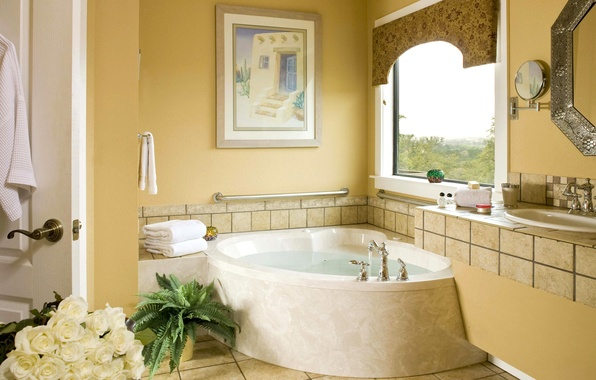 Картинка цветы, картина, зеркало, окно, ванна, умывальник, ванная комната