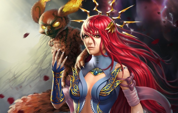 Картинка взгляд, девушка, фантазия, огонь, магия, маг, рыжая, зверь, Lana Solaris