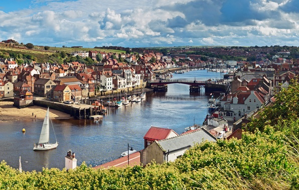 Картинка небо, облака, деревья, пейзаж, мост, река, лодка, англия, дома, парус, England, North Yorkshire