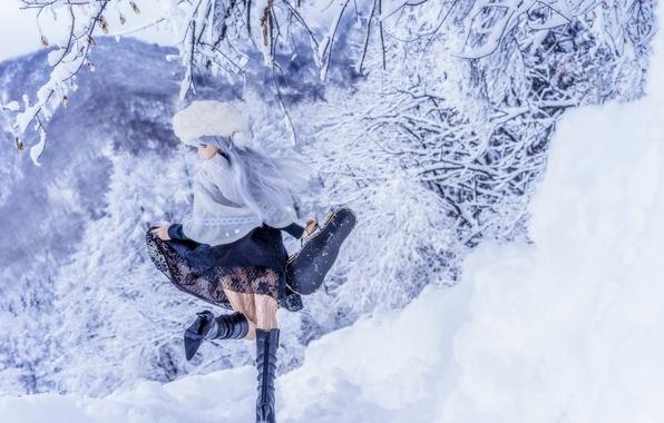 Картинка зима, снег, игрушка, кукла
