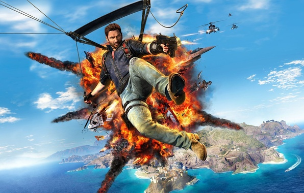 Картинка небо, вода, оружие, остров, дома, бой, полёт, вертолёт, самолёт, Square Enix, крюк, Just Cause 3, …