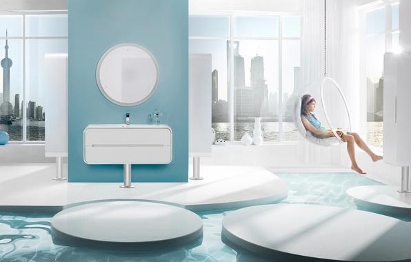 Картинка девушка, дизайн, стиль, комната, интерьер, relax, мегаполис, апартаменты, жилое пространство