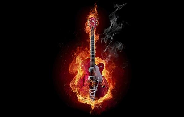 Картинка дым, гитара, Огонь