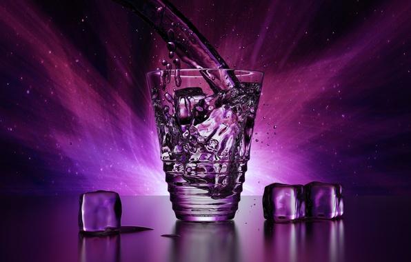Картинка лед, фиолетовый, вода, капли, свет, брызги, прозрачный, стакан, рендеринг, кубики, блеск, бокал, лёд, красота, льдинки, …