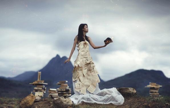 Картинка девушка, книги, ситуация