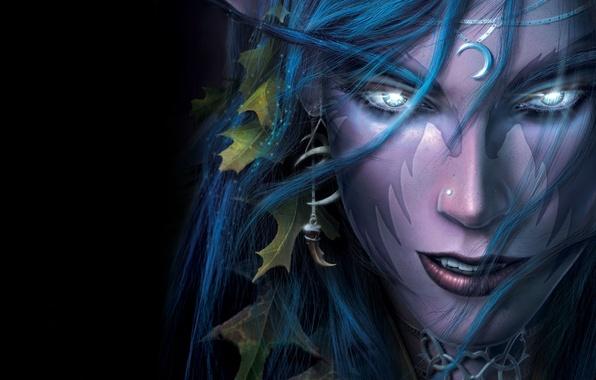 Картинка глаза, девушка, лицо, волосы, блеск, серьга, Night Elf, чёрный фон, Warcraft 3, военное ремесло, варкрафт …