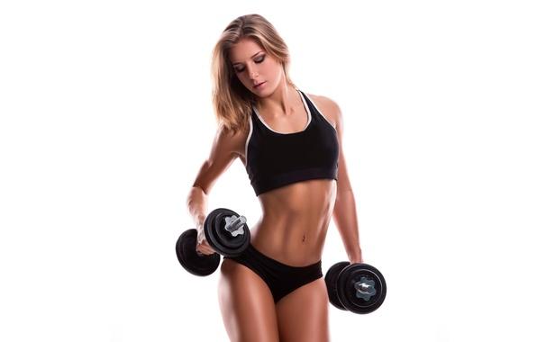 Картинка девушка, лицо, стиль, волосы, тело, фигура, спортивная, гантели