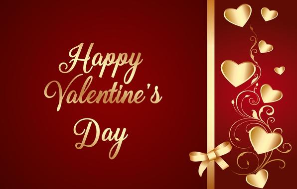 Картинка любовь, сердечки, golden, love, валентинка, romantic, hearts, Valentine's Day, luxury, bow, Happy, gradient