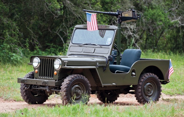 Картинка трава, деревья, фон, флаг, зелёный, передок, пулемёт, 1950, Jeep, Willys, Виллис, M38, Джип.внедорожник