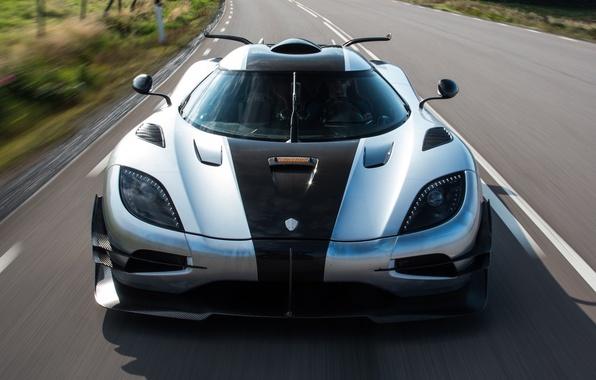 Картинка дорога, машина, скорость, Koenigsegg, wallpaper, суперкар, auto, передок, гиперкар, One:1