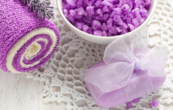 Картинка полотенце, мыло, relax, чашка, soap, flowers, лаванда, спа, lavender, spa, salt, natural, соль для ванны