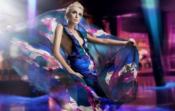 Картинка взгляд, девушка, платье, блондинка, яркость