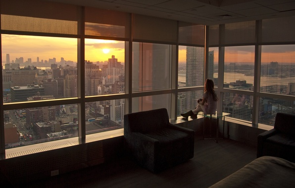 Картинка закат, нью-йорк, sunset, New York, usa, nyc