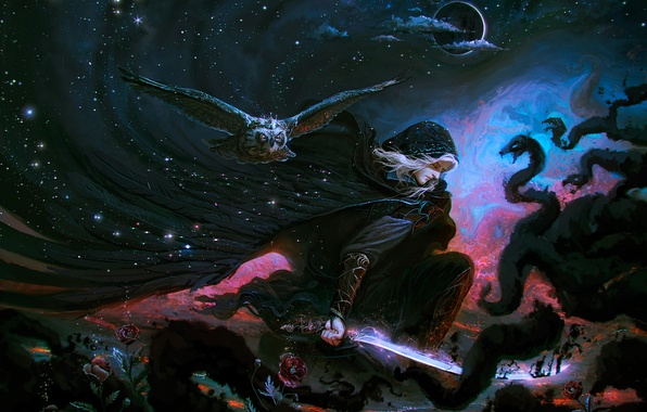 Картинка небо, облака, цветы, ночь, фантазия, тьма, сова, луна, человек, сон, розы, меч, капюшон, затмение