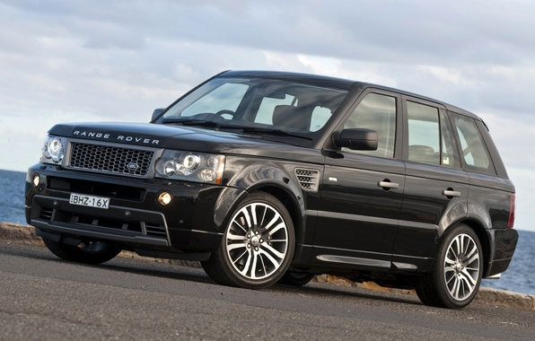 Картинка небо, чёрный, Спорт, джип, Land Rover, Range Rover, передок, Sport, Ренж Ровер, Лэнд Ровер, Stormer